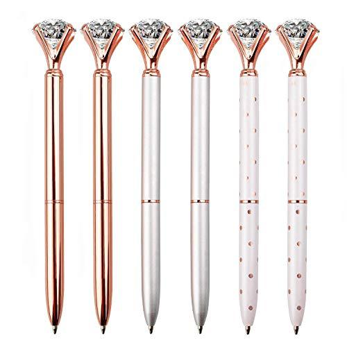 LONGKEY 6PCS Diamond Pens Large Crystal Diamond Ballpoint Pen Bling Metal Ballpoint Pen Office and School, Silver / White Rose Polka Dot / Rose Gold, Including 6Pen Refills.