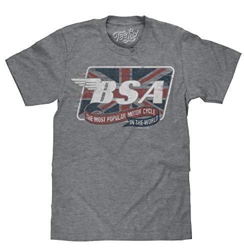 Tee Luv BSA Logo T-Shirt - Distressed BSA Motorcycles Union Jack Shirt (Graphite Snow Heather) (SM)