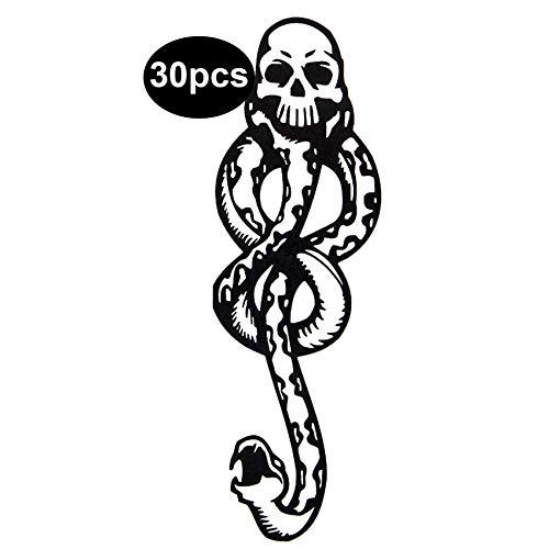 30 Pcs Death Eater Tattoo Dark Mark Tattoos Mamba Snake Skull Fake...