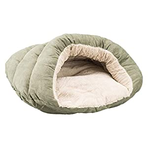 Sleep Zone Faux Suede Cuddle Cave Dog Bed – Fabric Bottom – 22X17 Inches / Sage / Attractive, Durable, Comfortable, Washable. By Ethical Pets