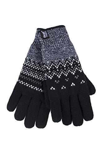 HEAT HOLDERS - Damen Winter Fleece Strick Elegant Norwegermuster Handschuhe (S/M, Black (Trondheim))