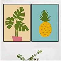 YQQICC 漫画の緑の植物パイナップル北欧のポスターとプリントキッズルームの壁アートキャンバス絵画壁の写真リビングルームの装飾-45x60cmx2フレームなし