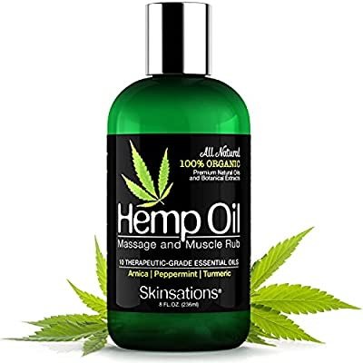 Skinsations ? Hemp Oil Muscle Rub & Massage Oil   100% Organic, Sore Muscle Pain Relief with Arnica Montana, Turmeric, Black Pepper, Peppermint, Lavender in a Sweet Almond Oil and Hemp Seed Oil Base