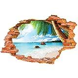 TeriliziPlaya Palmera Paisaje 3D Pared Rota Vinilo Mural Pegatinas Decoración Del Hogar Verano Vista Al Mar Cartel Creativo Papel Tapiz C-50X70Cm