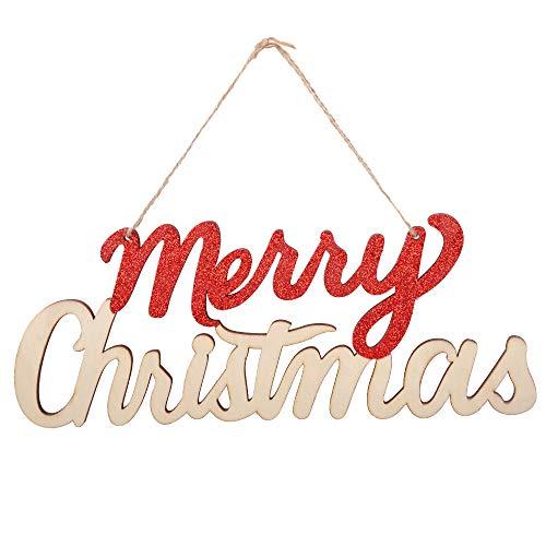 eZAKKA Merry Christmas Sign Wooden Door Wall Hanging Ornaments Board for Holidays Wooden Wall Door Decoration Indoor Outdoor
