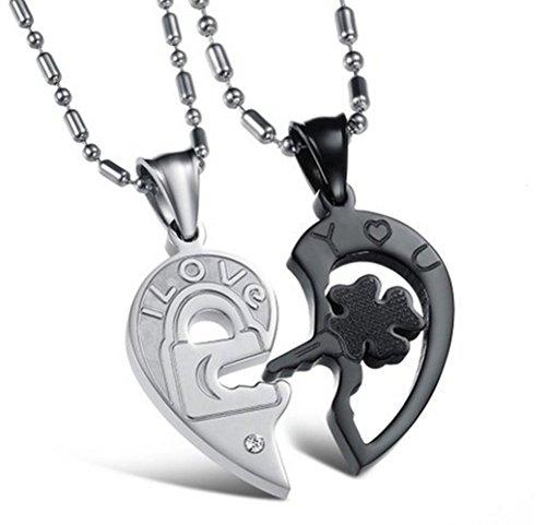 Gudeke Joyas 2piezas acero inoxidable llave y candado con forma de corazón Love collares Regalos para parejas grabado con I Love y you 22