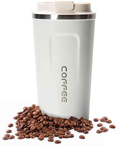 Taza de Café con Aislamiento - Taza de Viaje de Doble Pared Aislamiento al vacío Acero Inoxidable con Tapa a Prueba de Fugas Taza Reutilizable ecológica para café té y Cerveza 18oz (Blanco)