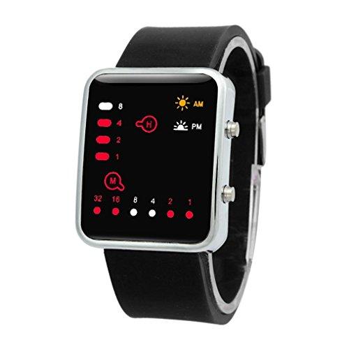Keepwin Mode Unisex Digital Red LED Sportuhr, binäre multifunktionale Silikonarmbanduhr (Black)