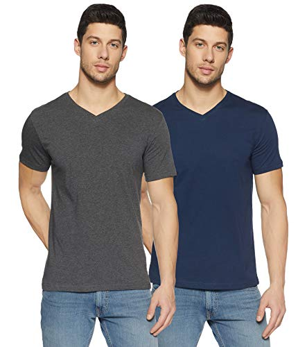 Amazon Brand - Symbol Men's Solid Regular Fit Half Sleeve Cotton T-Shirt (Combo Pack of 2) (AW17PLPO2V3_S_Dark Grey melange and Iris Navy)