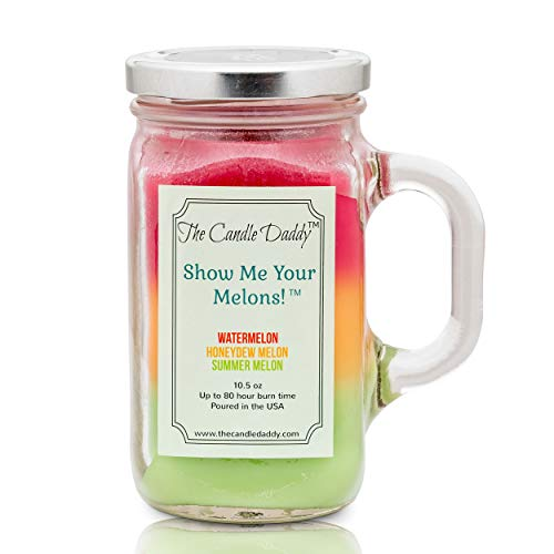 Show Me Your Melons! Scented Candle - Watermelon, Cantaloupe, Honeydew Scented Triple Layer Candle - 10.5 oz Mason Jar Candle - Fun and Funny Gag Joke Candle Poured in Small Batches in USA