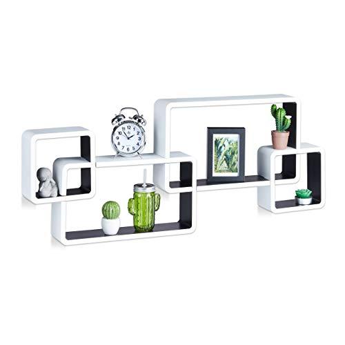 Relaxdays Wandregal Cube, Schwebend, Modernes Design, Dekorativ, Steckbar, 4 Würfel, MDF, HBT: 42x104x10cm, Weiß-Schwarz