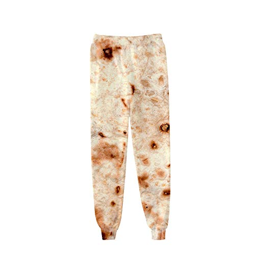 cinnamou Damen Hose Mexikanische Burrito Kekse 3D Digitaldruck Bouquet Füße Hosen Leichte Hose Damen Pants