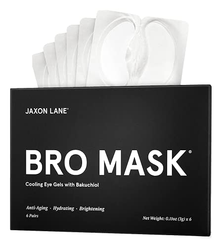BRO MASK Under Eye Gel Pads: Cooling Eye Patches for Dark Circles and Puffiness | Anti Aging Hydrogel Eye Patch Set w/ Bakuchiol, Green Tea, Hyaluronic Acid, Caffeine, Niacinamide/Vitamin B3 -6 Pairs