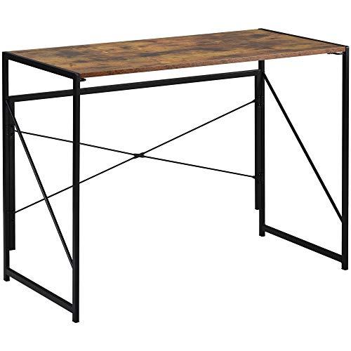 zcyg Escritorio plegable para computadora portátil, oficina, escritorio, estudio, escritorio simple para casa, oficina, estilo industrial, 100 x 50 x 75 cm, color marrón rústico