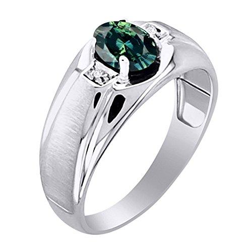 Verde Zafiro y anillo de diamante en plata de ley con acabado satinado
