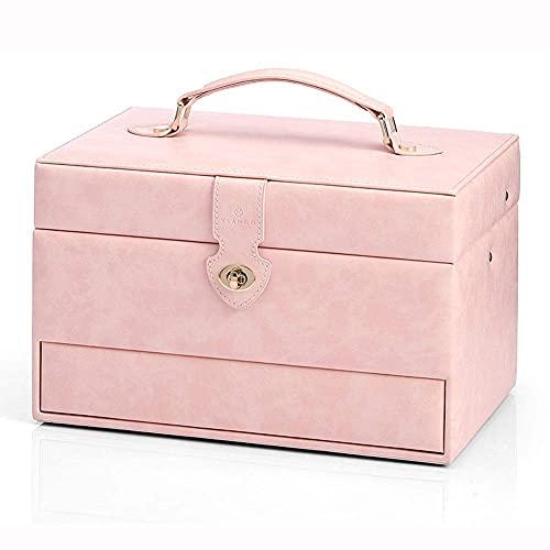 JIANGCJ Bonita caja de almacenamiento para joyas, organizador de anillos de princesa, caja de almacenamiento de gran capacidad, collar y pendientes, colección de almacenamiento simple, caja decorativa
