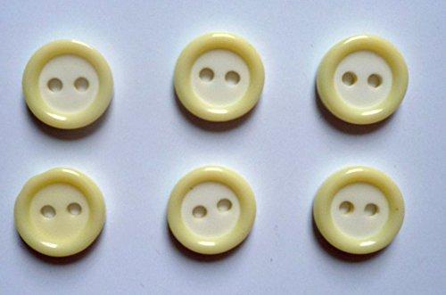 Jäpel 6 Boutons 2 trous 13 mm crème/jaune clair