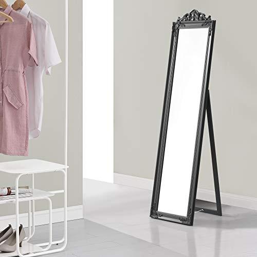[en.casa] Miroir de Grande Taille sur Pied Psyché Inclinable Solide Cadre Style Baroque Bois d'Eucalyptus 160 x 40 cm Gris Foncé