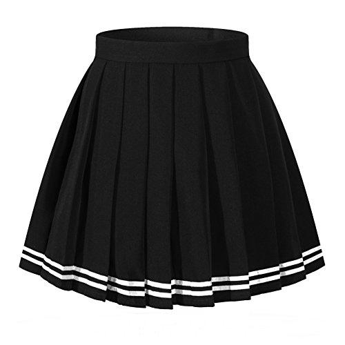 Women`s England mini kilt tartan School flared Pleated Skirts (XL,Black)