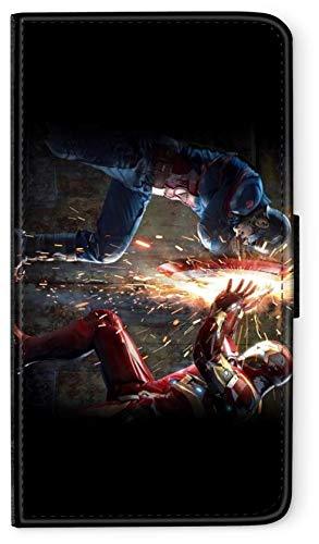 Flip Case Avengers Helden Comic Marvel kompatibel für Samsung Galaxy A3 2016 Iron Man VS Captain America Handy Hülle Leder Tasche Klapphülle Brieftasche Etui rund um Schutz Wallet M9