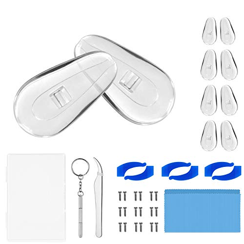 Soft Silicone Eyeglass Nose Pads Eyeglass Repair Kit Include Nose Pads for Eyeglass Micro ScrewdriverTweezers Eyeglasses Cleaner Cloth Eyeglass RetainerGlasses Nose Pad Set