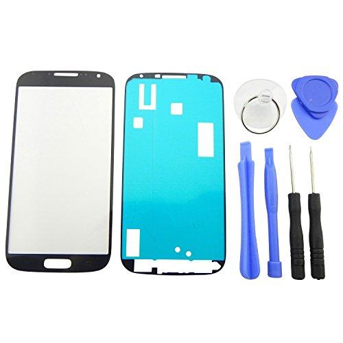 TOKA-VERSAND® - Frontglas Display für Samsung Galaxy S4 i9500 i9505 Front Glas Touchscreen + Klebefolie + 7X teiliges Werkzeug Set Schwarz für LCD Reparatur