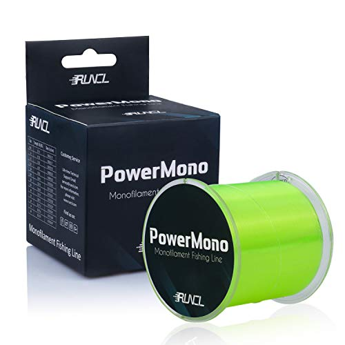 RUNCL PowerMono Fishing Line, Monofilament Fishing Line - Ultimate Strength, Shock Absorber, Suspend in Water, Knot Friendly - Mono Fishing Line (Yellow, 8LB(3.6kgs), 1000yds)