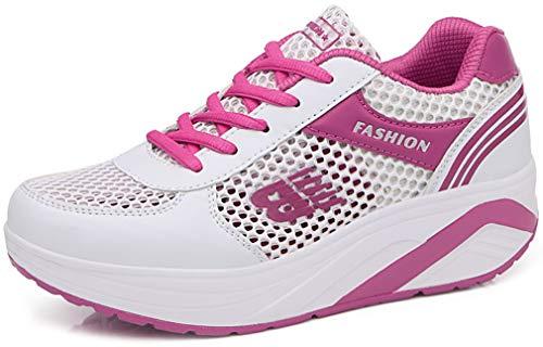 Solshine Damen Netz Sneakers Plateauschuhe Sportschuhe A233 Pink 38EU