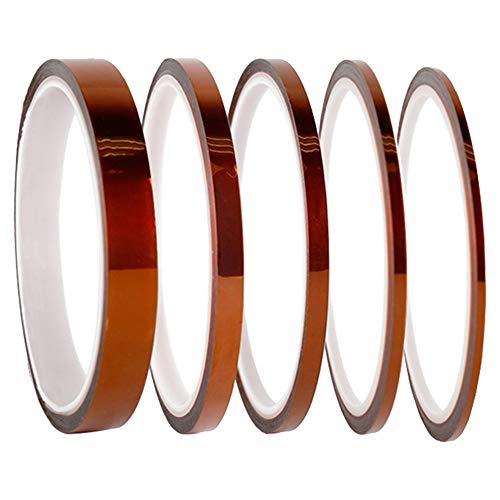 5 Roll gouden polyimide maskeertape, hoge temperatuur hittebestendige tape, polyimide film kleefband voor maskeren, solderen, poedercoating, afdrukken PCB Board 4/6/8/10/12mmx 33m