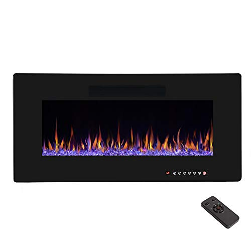 R.W.FLAME 36' Electric Fireplace, Recessed Wall Mounted and In-wall Fireplace Heater, Fit for 2 x 4 and 2 x 6 Stud, Remote Control with Timer,Touch Screen,Adjustable Flame Color and Speed, 750-1500W