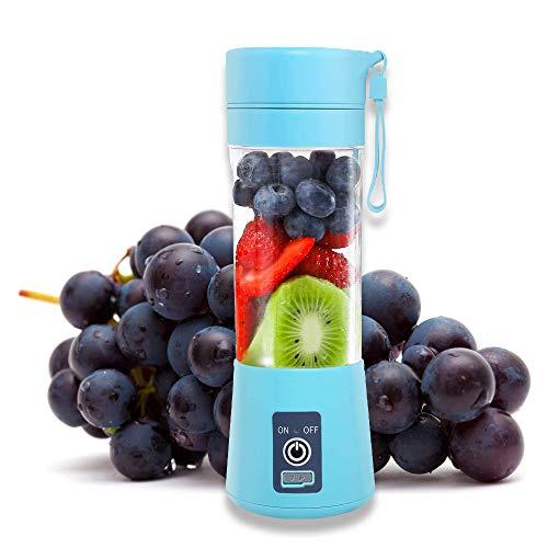 Portable Blender, Mini Smoothie Blender, Juicer Cup, Personal Fruit Mixer, Beach Milkshakes Ice Maker Travel Handheld Blenders Bottle Bowls, Rechargeable with USB 380ml Six 3D Blades 2000mAh Blue