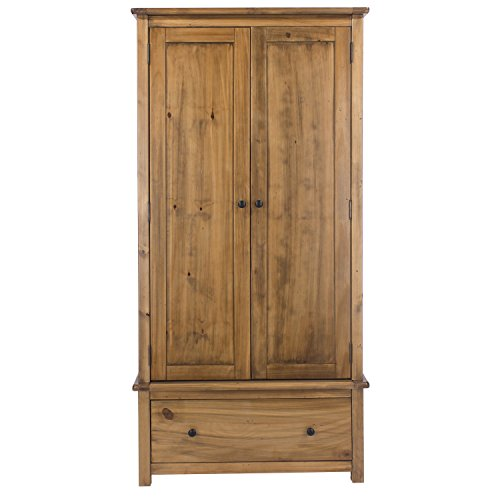 Home Source Wardrobe Pine Cabinet Bedroom Storage Cupboard, Brown, 2 Door 1 Drawer