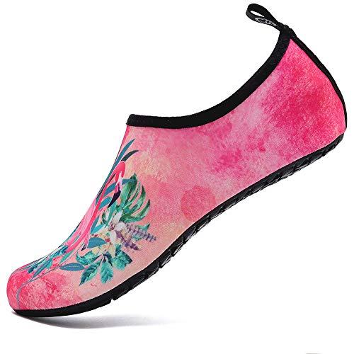 Deevike Badeschuhe Damen Schuhe Sommer Wasserschuhe Barfussschuhe Schwimmschuhe Strandschuhe Aquaschuhe Surfschuhe Flamingo 42/43