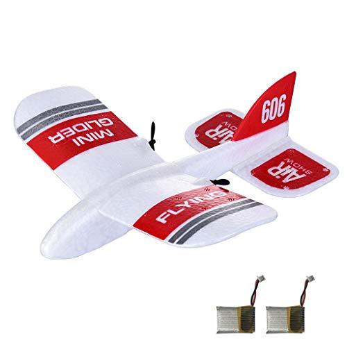 VICKY-HOHO Rc Flugzeug Kfplan Kf606 2,4 GHz 2Ch Mini Indoor Rc Flugzeug Segelflugzeug Rtf - Zwei-Batterie-Hubschrauber