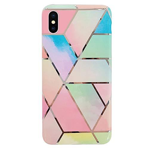 Ysimee Compatible avec iPhone XS Max Coque Géométrique Marbre Design Plaquée de Couleur Housse en TPU Silicone Souple Glitter Sparkle Etui Ultra Mince et Léger Anti-Scratch Bumper Cas,Marbre#B