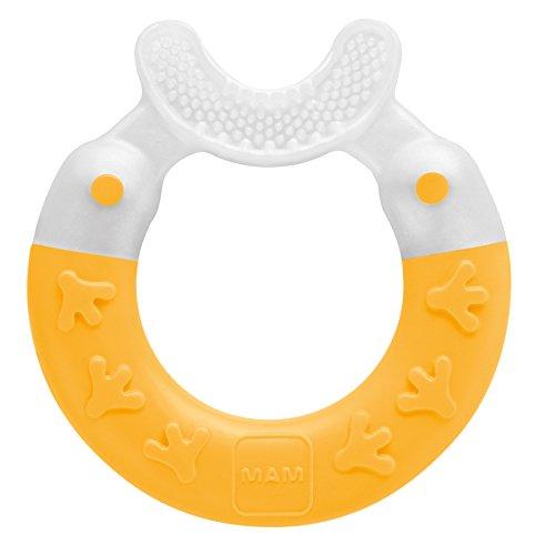 MAM Beißring Bite & Brush, Baby Zahnungshilfe beruhigt das Zahnfleisch, unterstützt die Zahnpflege mit extra-weichen Borsten, gelb, ab 3+ Monate