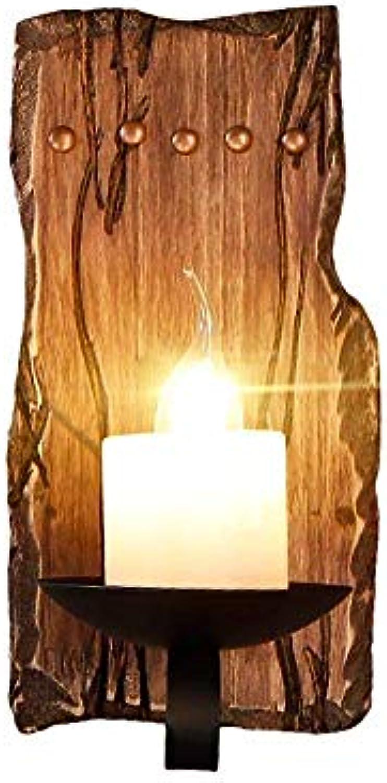 Vintage Massivholz Wandlampen, Retro Village LED Marmor Kerze Dekoration Beleuchtung Wand Hngelampe Antikes Creative Schlafzimmer Wohnzimmer Esstisch Wandleuchte Moderne Studie Gang Wandleuchten