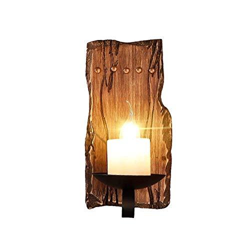 Vintage Massivholz Wandlampen, Retro Village LED Marmor Kerze Dekoration Beleuchtung Wand Hängelampe Antikes Creative Schlafzimmer Wohnzimmer Esstisch Wandleuchte Moderne Studie Gang Wandleuchten