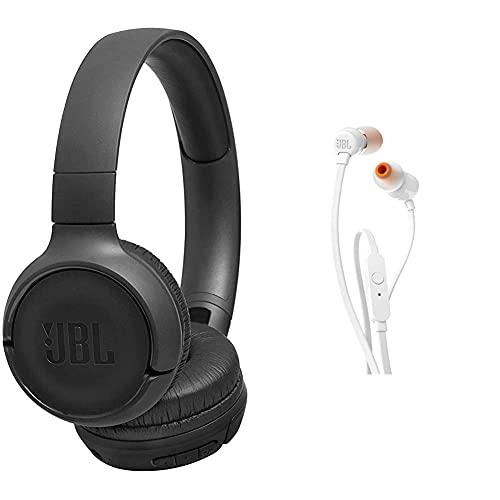 JBL Tune500Bt Auriculares Supraaurales Inalambricos con Conexiones Multipunto Y Asistente De Voz Google Now O Siri Bateria De 16H Negro + Tune 110 Auriculares intraaurales Bluetooth con microfono