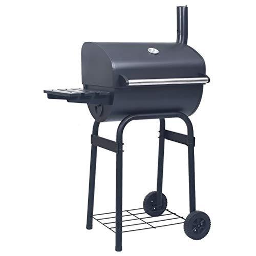 vidaXL Charcoal BBQ Grill Smoker with Bottom Shelf Black
