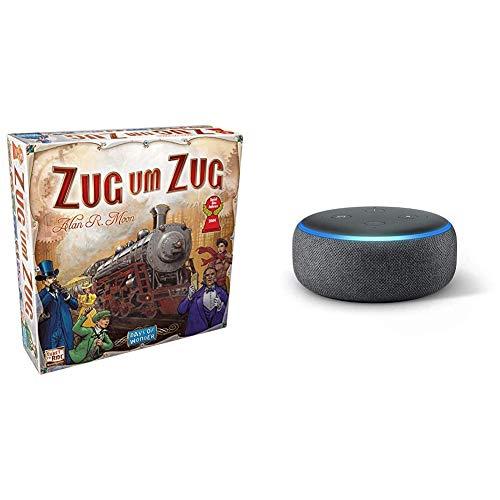 Asmodee Zug um Zug - Grundspiel + Echo Dot (3. Gen.) Intelligenter Lautsprecher mit...