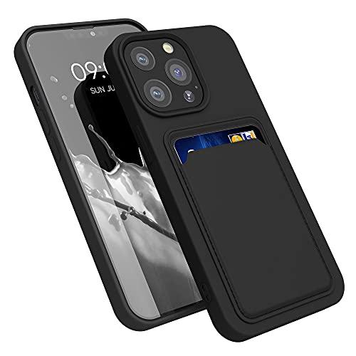 kwmobile Funda con Tarjetero Compatible con Apple iPhone 13 Pro - Carcasa Protectora de TPU Suave - Negro