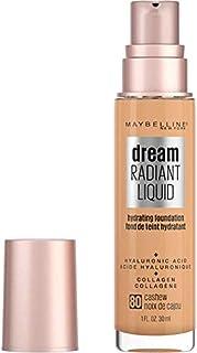 Maybelline Dream Radiant Liquid Medium Coverage Hydrating Makeup, Lightweight Liquid Foundation, Cashew, 1 Fl; Oz