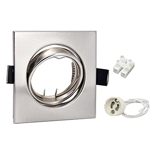 6er LED Einbaustrahler Rahmen GU10 Set Schwenkbar Edelstahl Gebürstet Einbauspots Eckig 230V Einbaurahmen inkl. Fassung für LED/Halogen