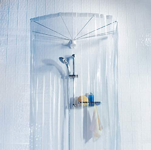 Deco-Line Tracy Glasklar Duschvorhangspinne mit Vinyl Duschvorhang 200x170cm.