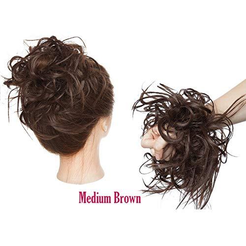 XXL Postiche Cheveux En Caoutchouc Chouchou Chignons VOLUMINEUX Bouclés Ou Chignon Décoiffé Extension a clip Cheveux Naturel Brun moyen