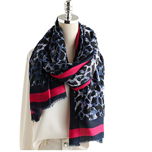 DYEWD sjaal van katoen en linnen, hoogwaardig, warm, dik, voor herfst en winter, lange sjaal, dames Bleu Leopard Print