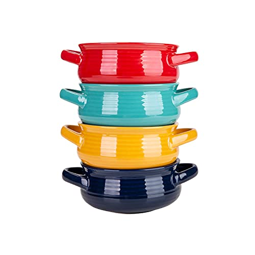 Cutiset 20 Ounce Multicolor Ceramic Soup Bowls with Handles,Ceramic Serving Bowl Set for Soup, Cereal and Stew, Set of 4