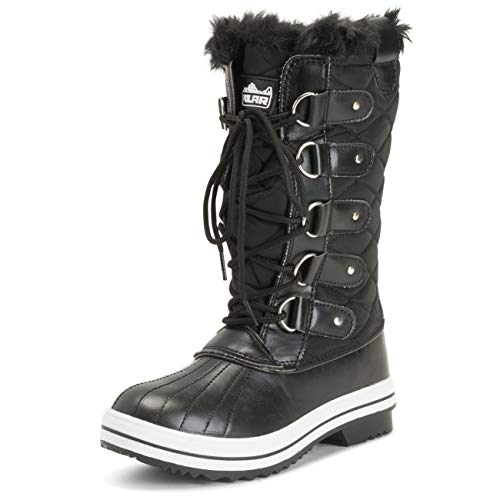 POLAR Womens Snow Boot Nylon Tall Winter Fur Lined Snow Warm Waterproof Rain Boot - Black - 8-39 - CD0025