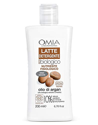 Omia Latte Detergente Viso Eco Bio, Struccante Fisiologico per Pelli Normali e Miste con Olio di Argan, 200ml